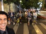 Group biking to the next bar